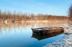 Horizontal d'automne avec le bateau Images libres de droits