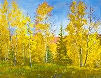 Horizontal d'automne, peinture à l'huile Photo stock