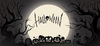 Horizontal dark background with halloween attributes and a big moon. Vector illustration. Horizontal dark background with halloween attributes and a big moon stock illustration