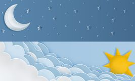 Horizontal day and night layout with sun. moon, stars and clouds vector illustration
