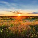 Horizontal de coucher du soleil Photographie stock