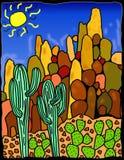 Horizontal de désert de Saguaro Photographie stock
