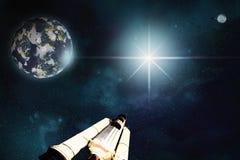 Horizontal de l'espace Scène d'exploration d'espace par l'homme illustration de vecteur