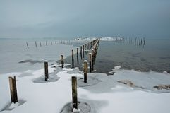 Horizontal de l'hiver au Danemark, Sjoelund près de Kolding photo stock