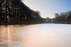 Horizontal de l'hiver au lever de soleil Images libres de droits