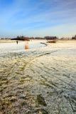 Horizontal de l'hiver avec le patineur Image stock