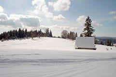 Horizontal de l'hiver avec une petite maison Photographie stock libre de droits