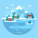 Horizontal de l'hiver de vecteur Station de sports d'hiver - conception plate Photographie stock