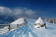 Horizontal de l'hiver en montagnes Photos libres de droits