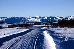 Horizontal de l'hiver en Norvège Images libres de droits
