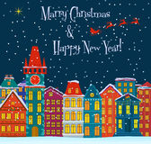 Horizontal de l'hiver Fond de holydays de Noël avec des maisons de conte de fées Carte de Joyeux Noël Petite ville mignonne en hi illustration de vecteur
