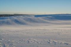 Horizontal de l'hiver Jour ensoleillé Baisse d'hiver Les couleurs lumineuses Paysage simple Chemin forestier de forêt d'hiver fil Photos libres de droits
