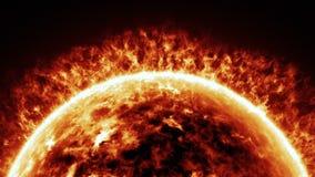 Horizontal de la superficie de Sun y de la animación de las llamaradas solares ilustración del vector