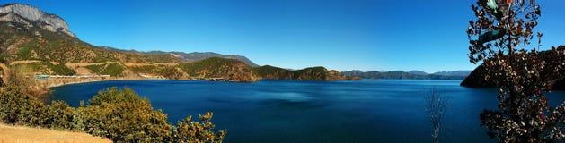 Horizontal de lac de lugu Images stock
