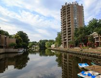 Horizontal de lac : Style de vie urbain Reston VA Images stock