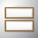 Horizontal de madeira das molduras para retrato imagem de stock
