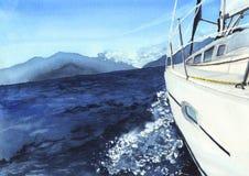 Horizontal de mer avec le bateau Photographie stock libre de droits