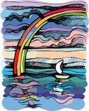 Horizontal de mer. Course en un bateau. illustration libre de droits