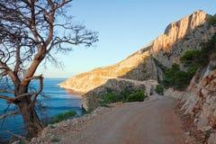 Horizontal de mer - marchez sur l'île Hvar en Croatie images stock