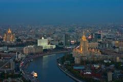 Horizontal de Moscou la nuit Images libres de droits