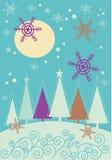 Horizontal de Noël de l'hiver avec la forêt d'arbre de fourrure Images libres de droits