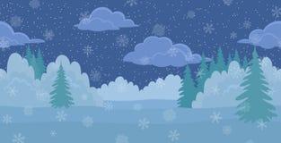 Horizontal de Noël, forêt de l'hiver de nuit Photos stock