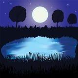 Horizontal de nuit avec le lac, la pleine lune et la forêt Image stock