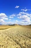 Horizontal de pays de terres cultivables de la Toscane, Crète Senesi, Italie. photographie stock