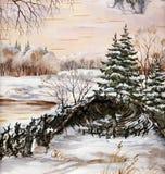 Horizontal de Sibérien de l'hiver Photographie stock