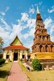 Horizontal de temple de Wat Phrathat Hariphunchai Photos libres de droits