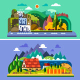 Horizontal de village illustration libre de droits