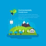 Horizontal de village Maison favorable à l'environnement illustration stock