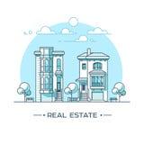 Horizontal de ville Concept d'immobiliers et d'entreprise de construction avec des maisons ligne style Illustration de vecteur Image stock