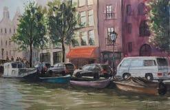 Horizontal de ville Les canaux d'Amsterdam illustration de vecteur