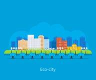 Horizontal de ville Maison favorable à l'environnement illustration de vecteur