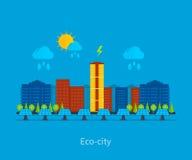 Horizontal de ville Maison favorable à l'environnement illustration libre de droits