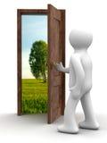 Horizontal derrière la porte ouverte. illustration de vecteur