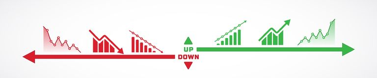 Horizontal design of charts icons going up and down. Vector illustration of charts and bars going up and down Stock Photography