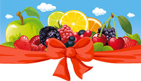 Horizontal design with fruit vector illustration