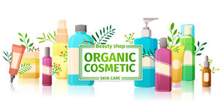 Horizontal design template of brochures, booklets, posters, banners organic cosmetics, organic shop. Design with bottles Stock Photos