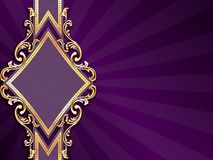 Horizontal diamond-shaped purple banner. Stylish purple banner with diamond-shape and metallic swirls. Graphics are grouped and in several layers for easy Stock Image