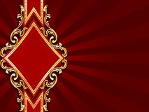 Horizontal diamond-shaped red banner with gold fil Royalty Free Stock Images