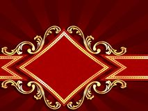 Horizontal diamond-shaped red banner with gold fil Royalty Free Stock Photography