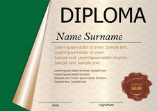 Horizontal diploma or certificate template with wax seal. Green royalty free illustration