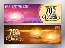 Vertical Diwali Festival Offer Poster Design Template with Lotus water lanterns and fireworks. Vector flyer set for. Horizontal Diwali Festival Offer Poster Royalty Free Stock Photography