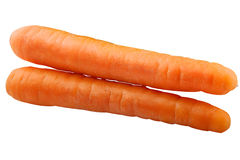 Horizontal double carrot isolated on white background. Whole carrots isolated on white background as package design element stock photography