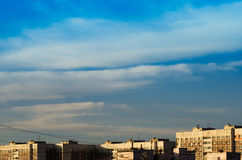 Horizontal dramatic cloudscape above dormitory area background b Royalty Free Stock Images