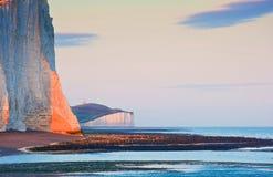 Horizontal du sud de l'Angleterre de sept de soeurs bas de falaises Photo stock