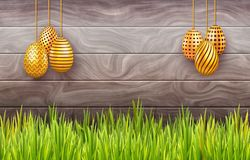 Horizontal Easter banner with hanging ornate eggs on wooden background with copy space. Horizontal Easter banner with hanging ornate eggs on wooden background royalty free illustration