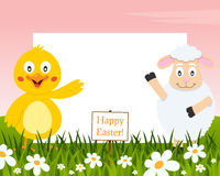 Horizontal Easter Frame - Chick and Lamb stock photography